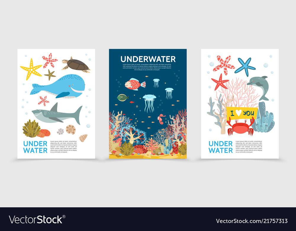 Flat colorful underwater life brochures