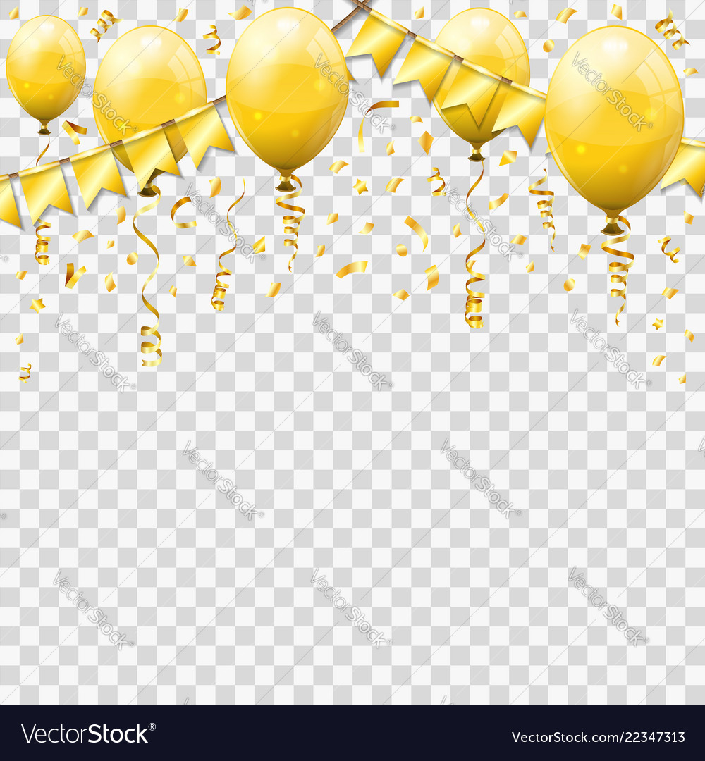 Golden streamer and confetti