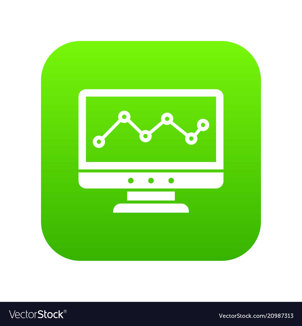Graph in computer screen icon digital green