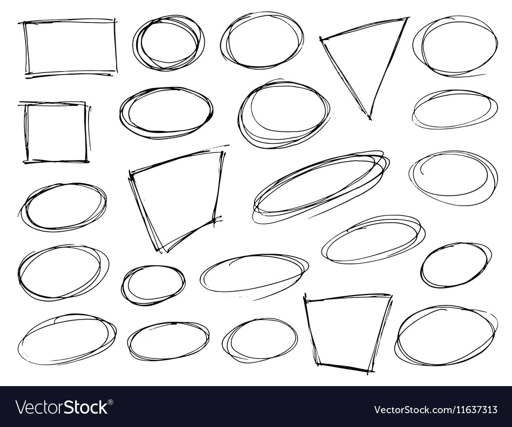 Hand Drawn Scribble Shapes vector image