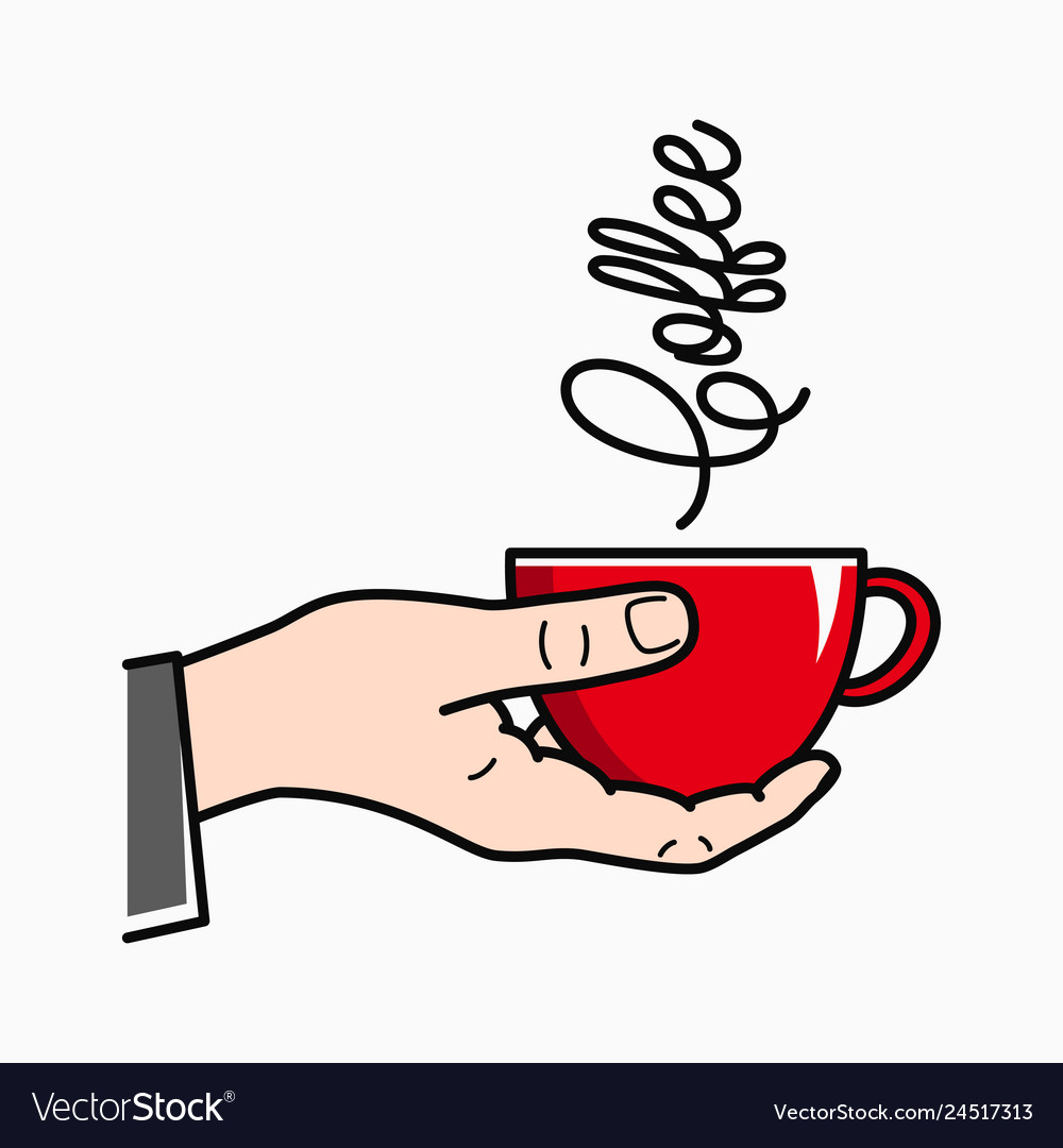 Hand hold coffee male hand holding red coffee cup