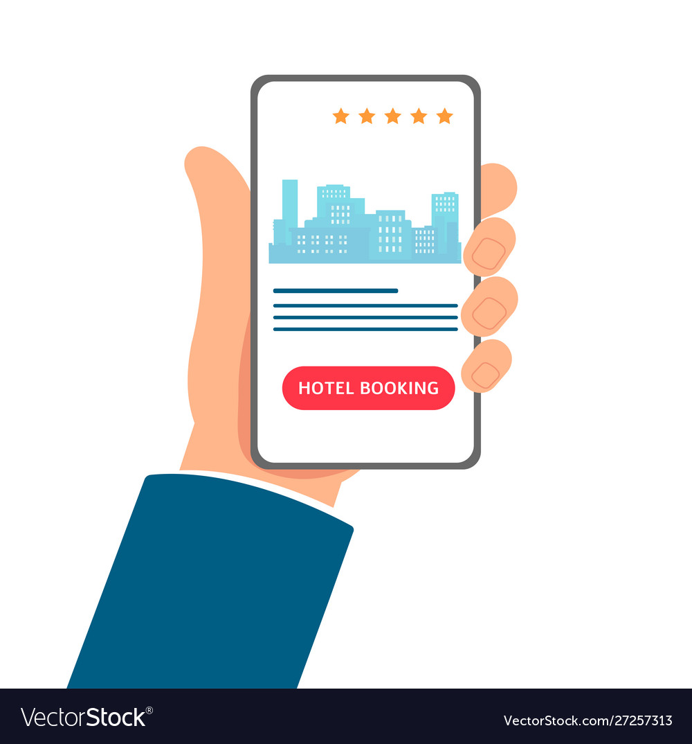 Hotel Booking App Cartoon Hand Holding A Phone Vector Image