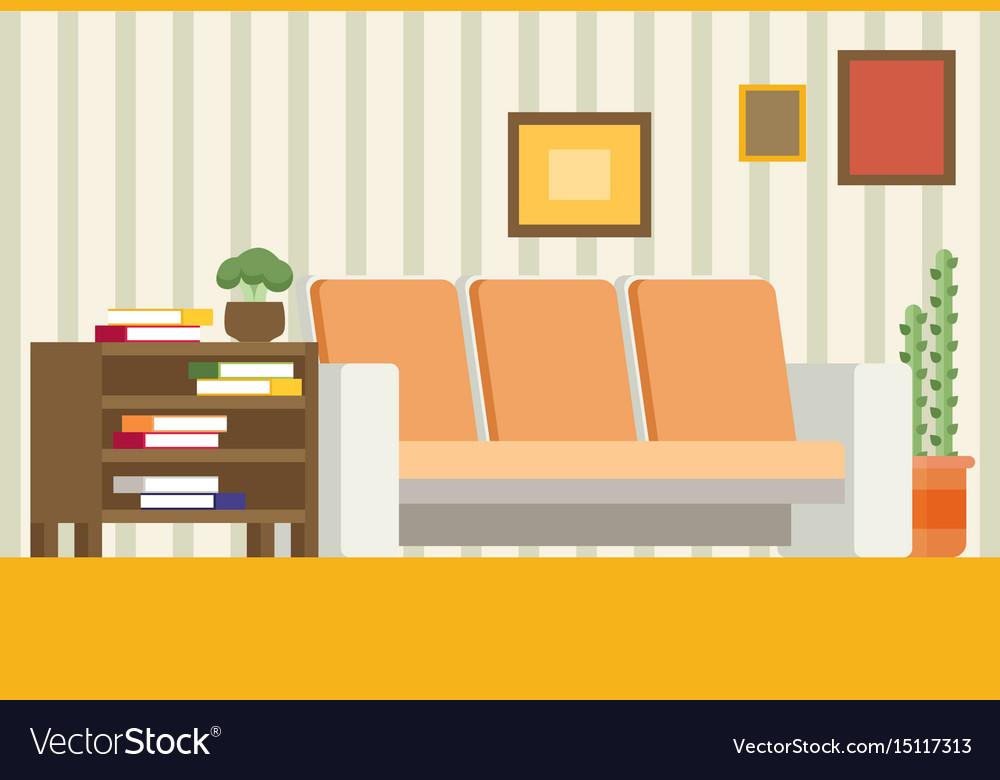 Living Room Interior Design Modern Flat Royalty Free Vector
