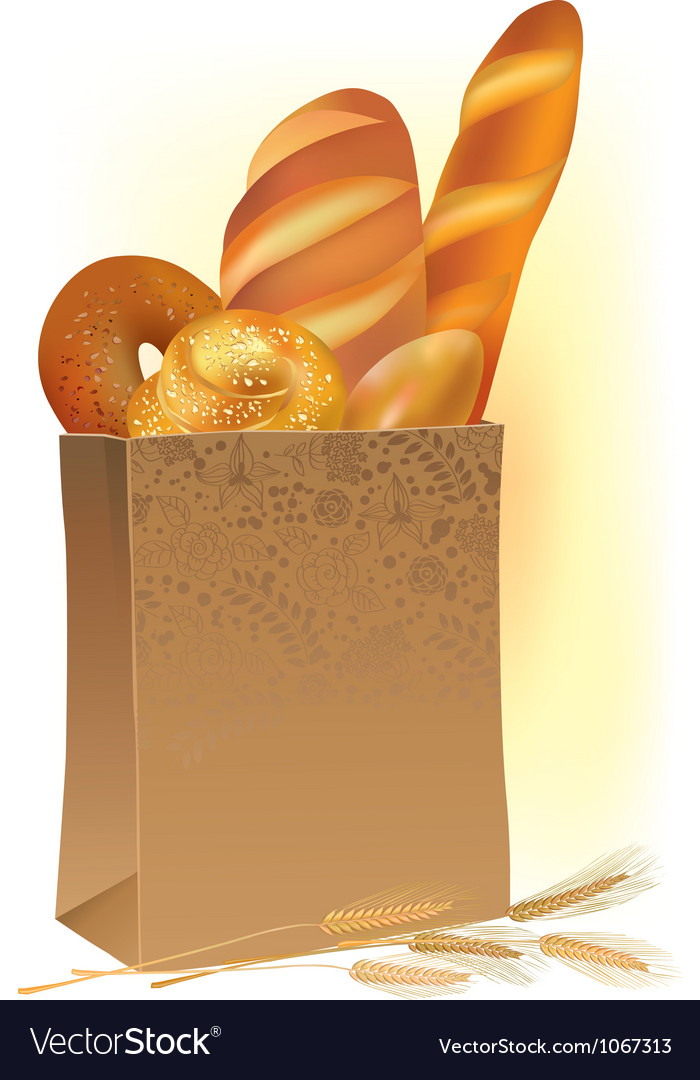 Paper bag with bread vector image