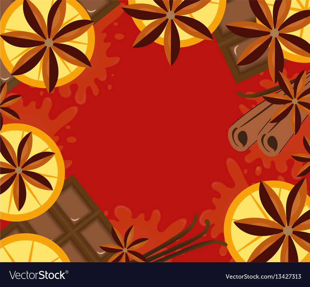 Red background with orange cinnamon and chocolate