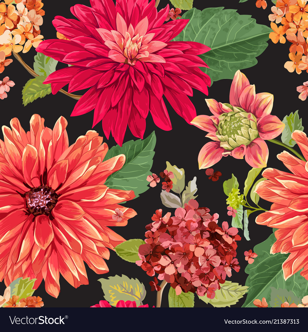 Seamless pattern with red asters flowers floral