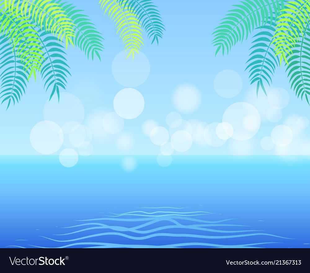 Summer background with palm leaves in the corner