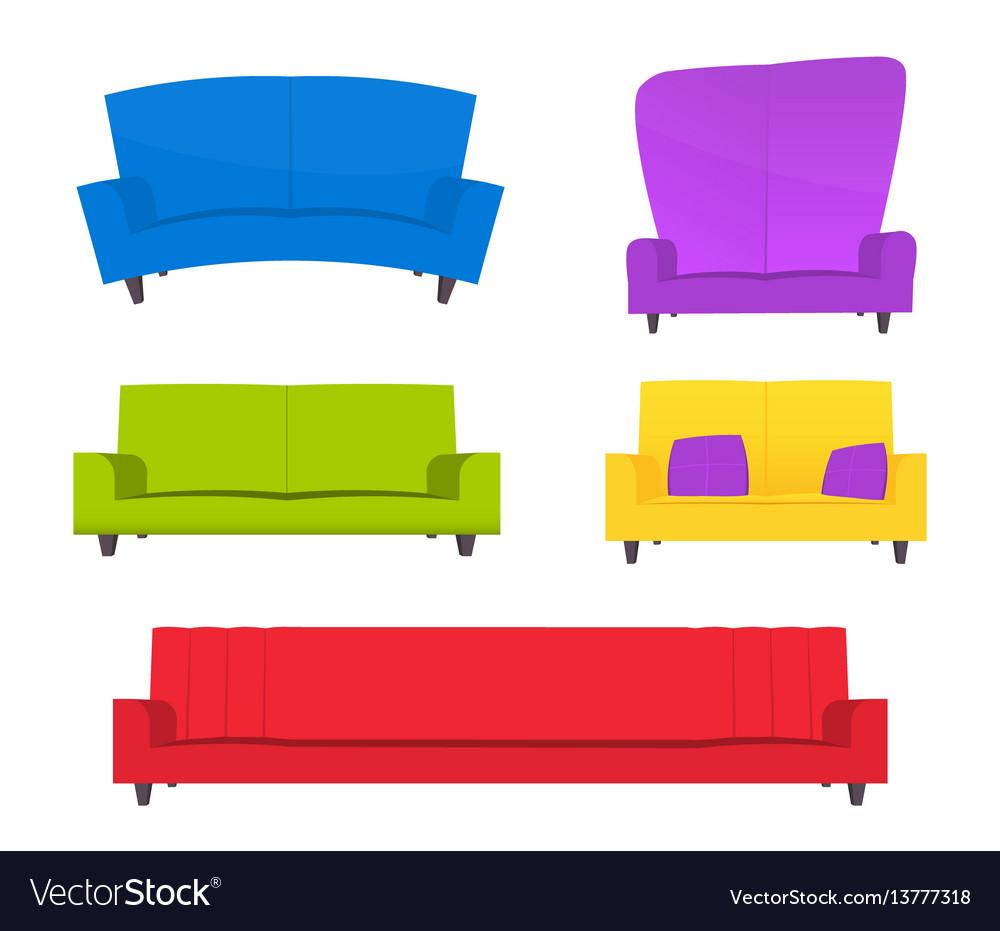 Abstract creative funny cartoon sofa set isolated