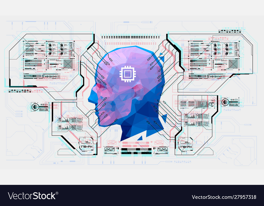 Advanced ai from futuristic hud interface facial