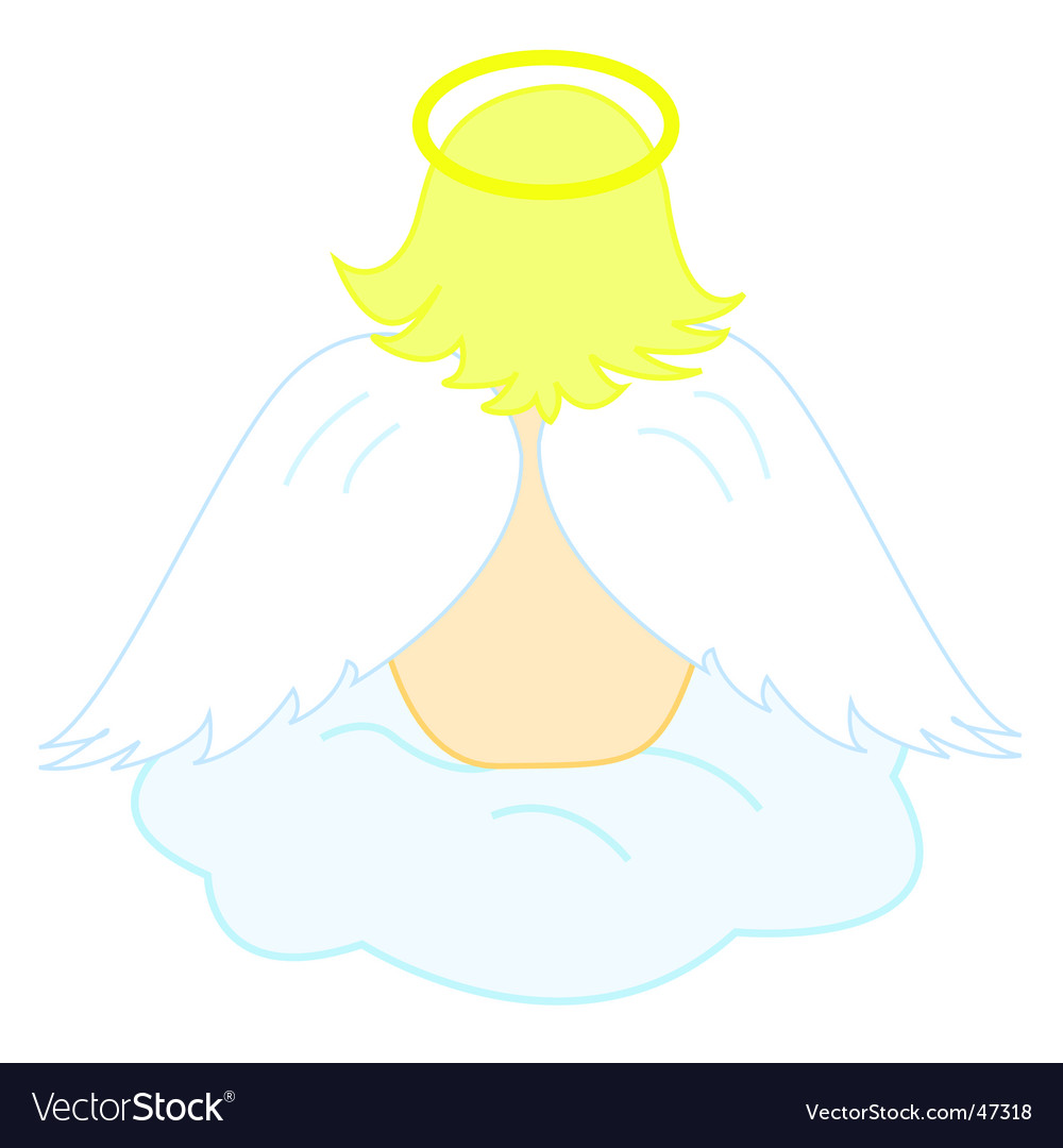 Baby angel sitting on cloud vector image