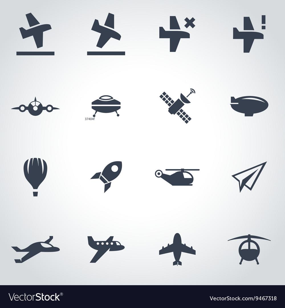 Black airplane icon set