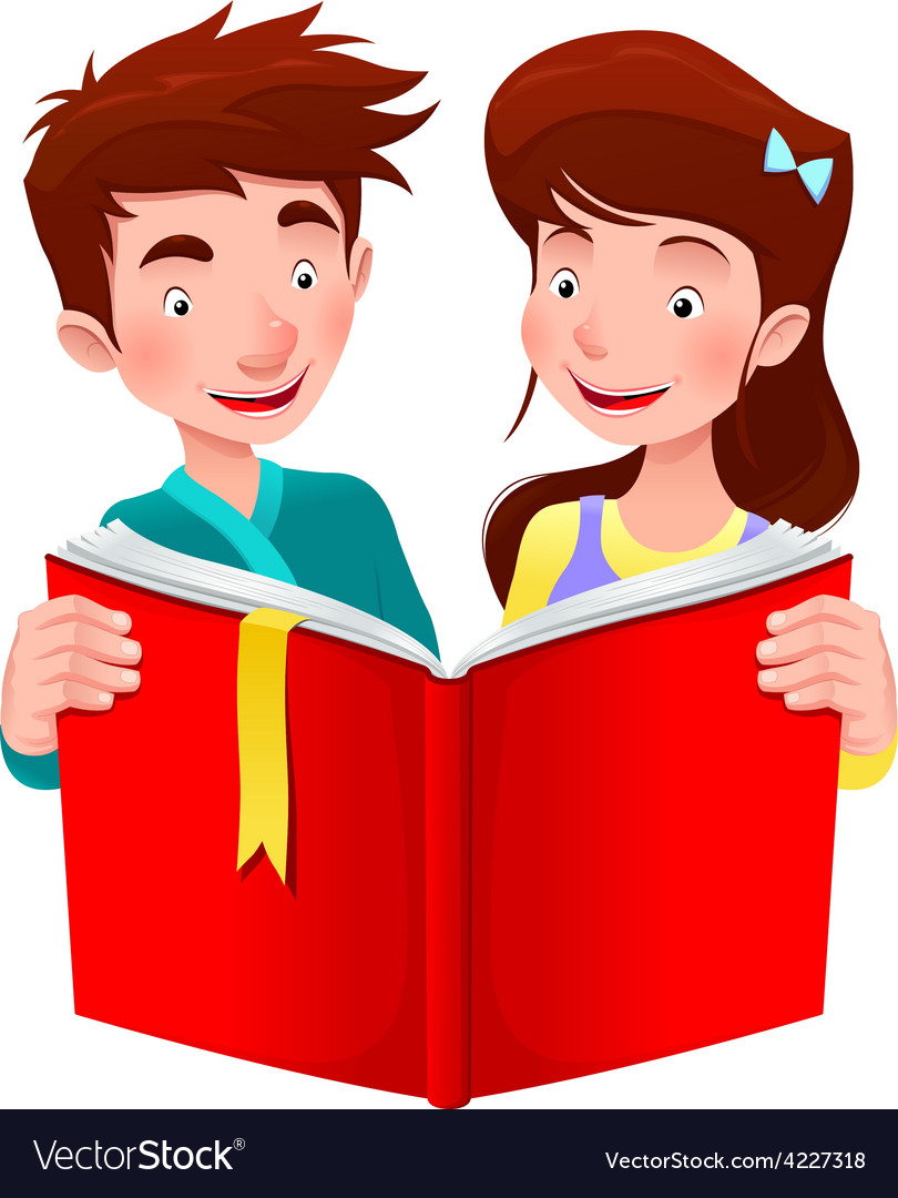 Boy and girl are reading a book