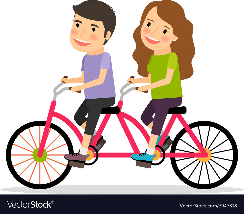 Couple riding tandem bicycle vector image