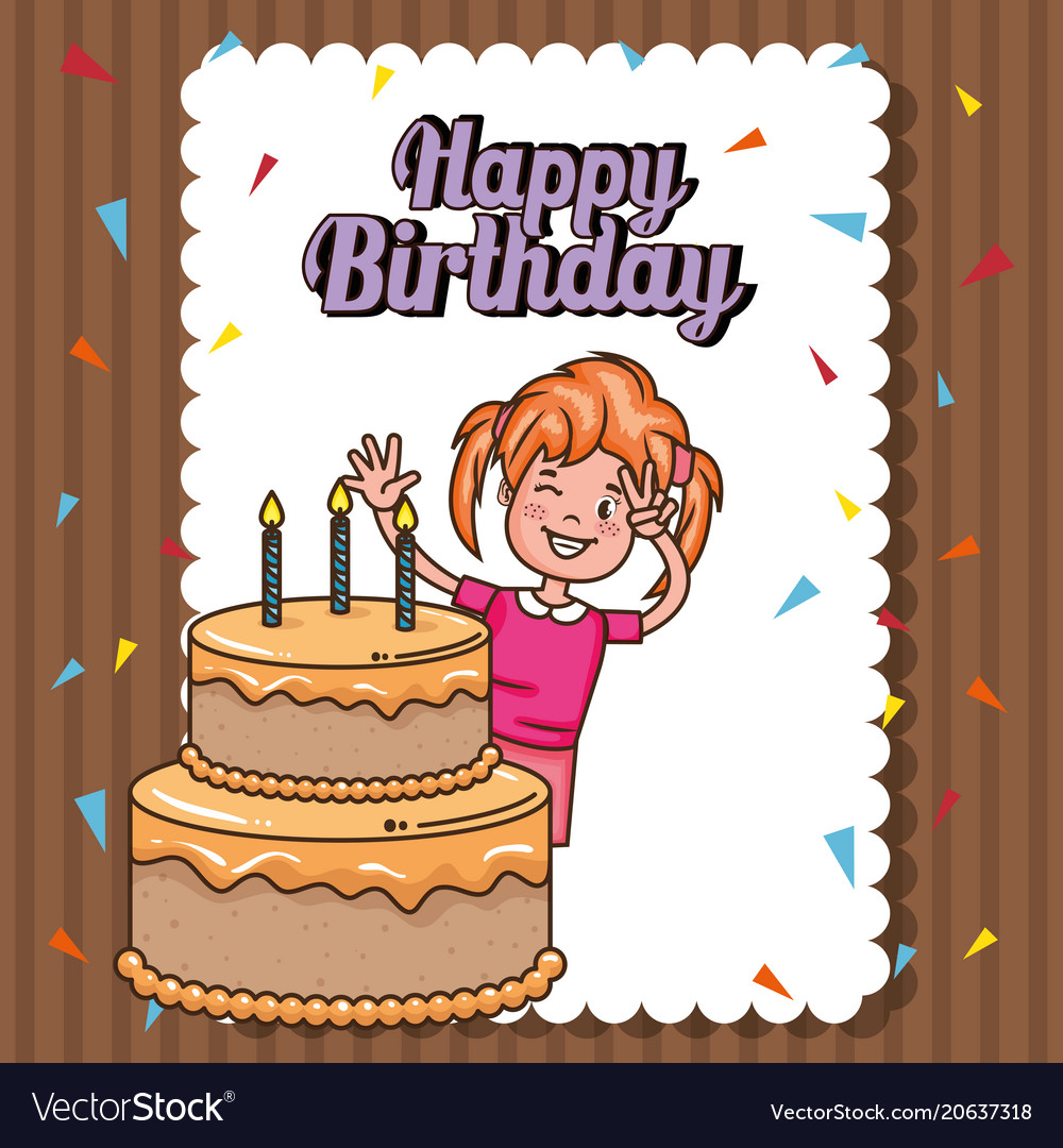 Happy birthday card with little girl