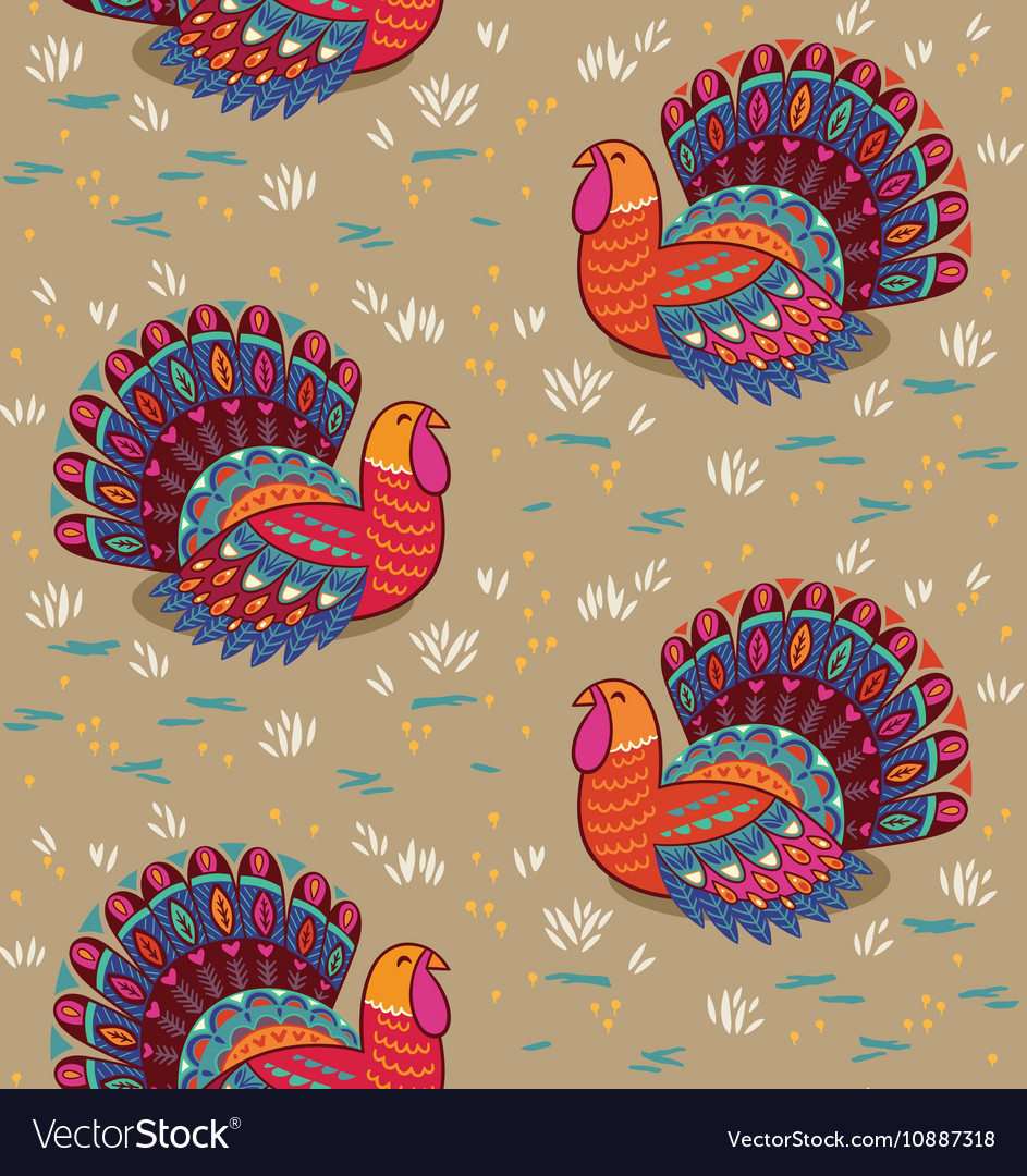 Happy Thanksgiving seamless pattern with turkey