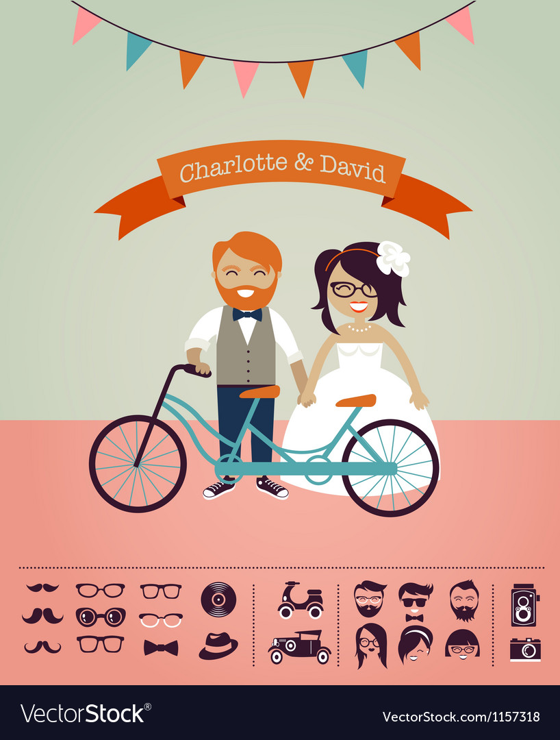 hipster wedding design your own invitation card vector image