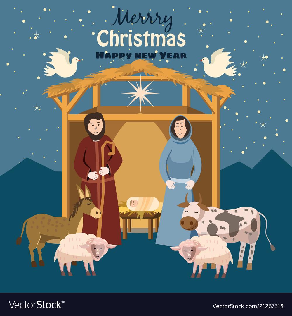 Nativity scene set of cute people animals