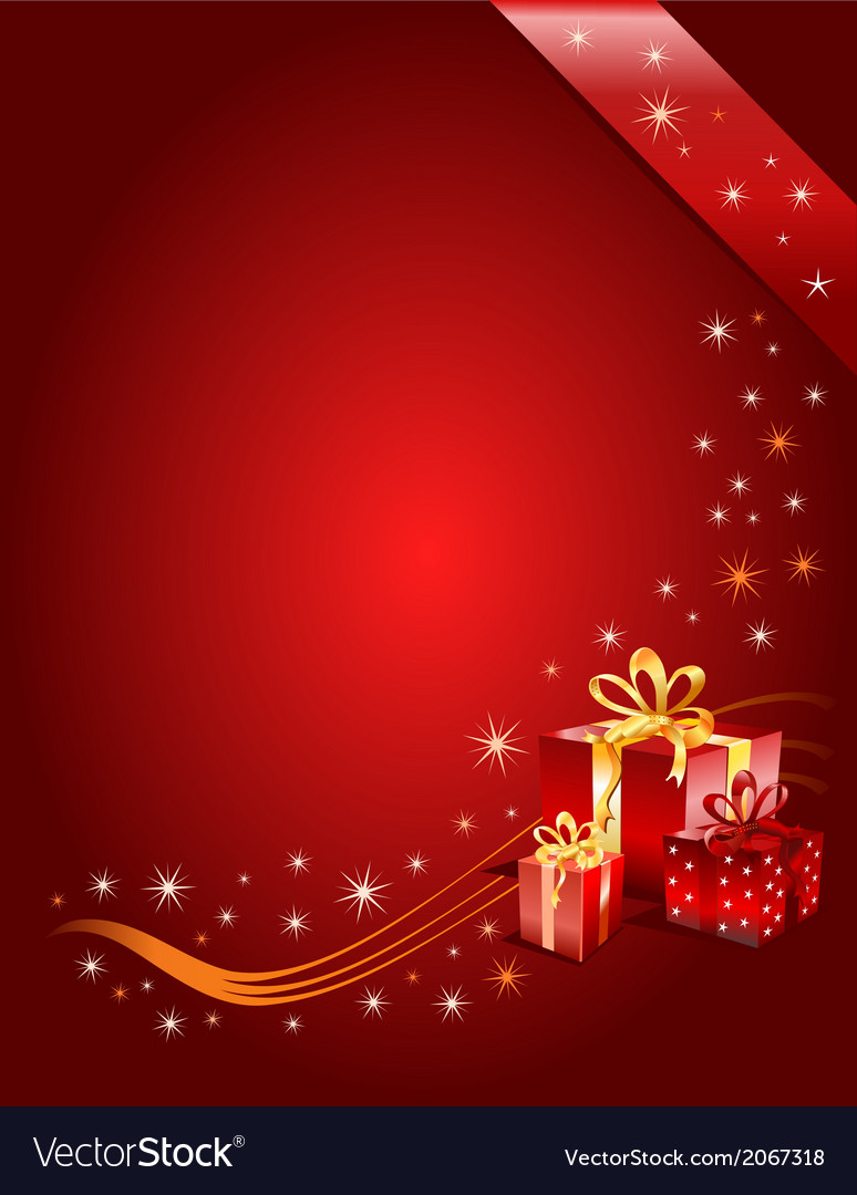 red christmas background with gifts vector image - Red Christmas Background