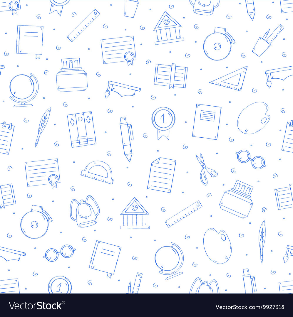 School elements pattern blue icons