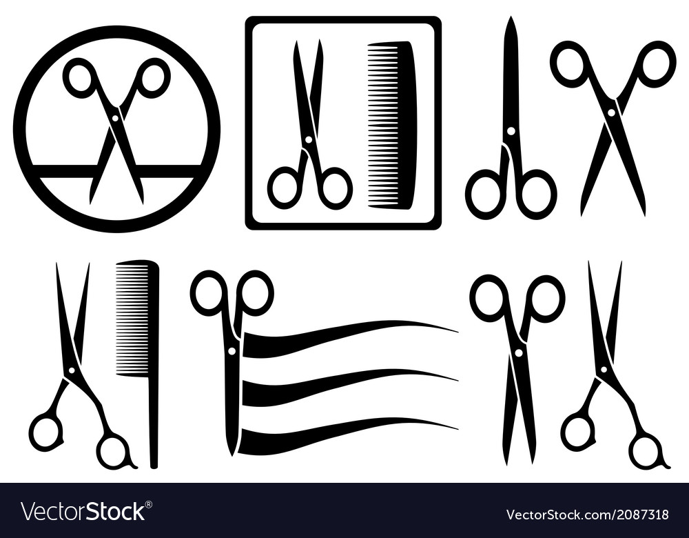 Scissors icons with comb for hair salon vector image
