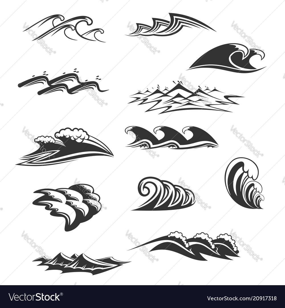 Sea waves icons set