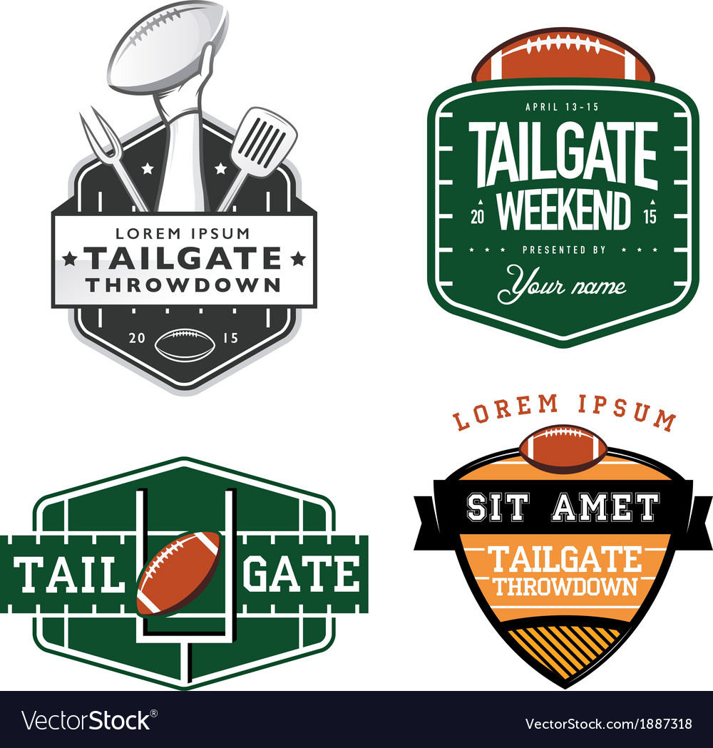 Set american football tailgate design elements