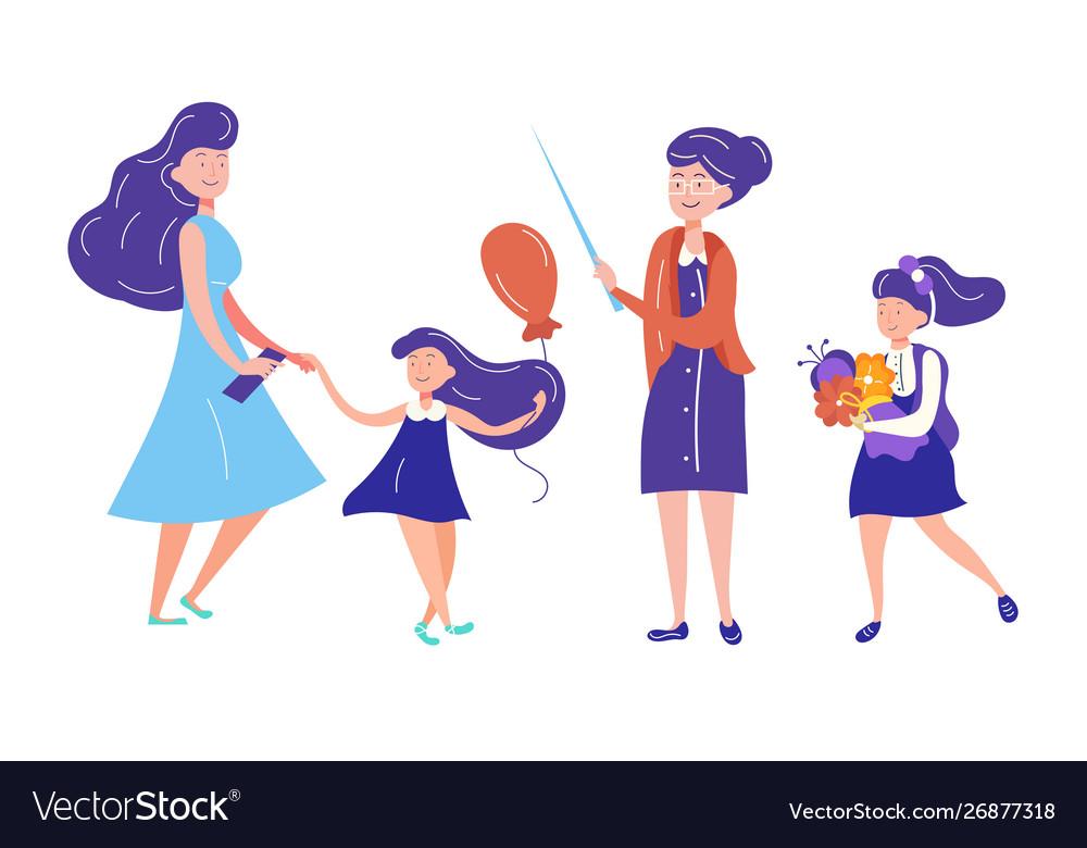 Set characters teacher schoolgirl with flowers