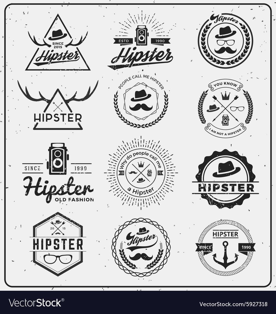 Set of hipster insignia logo design for logo