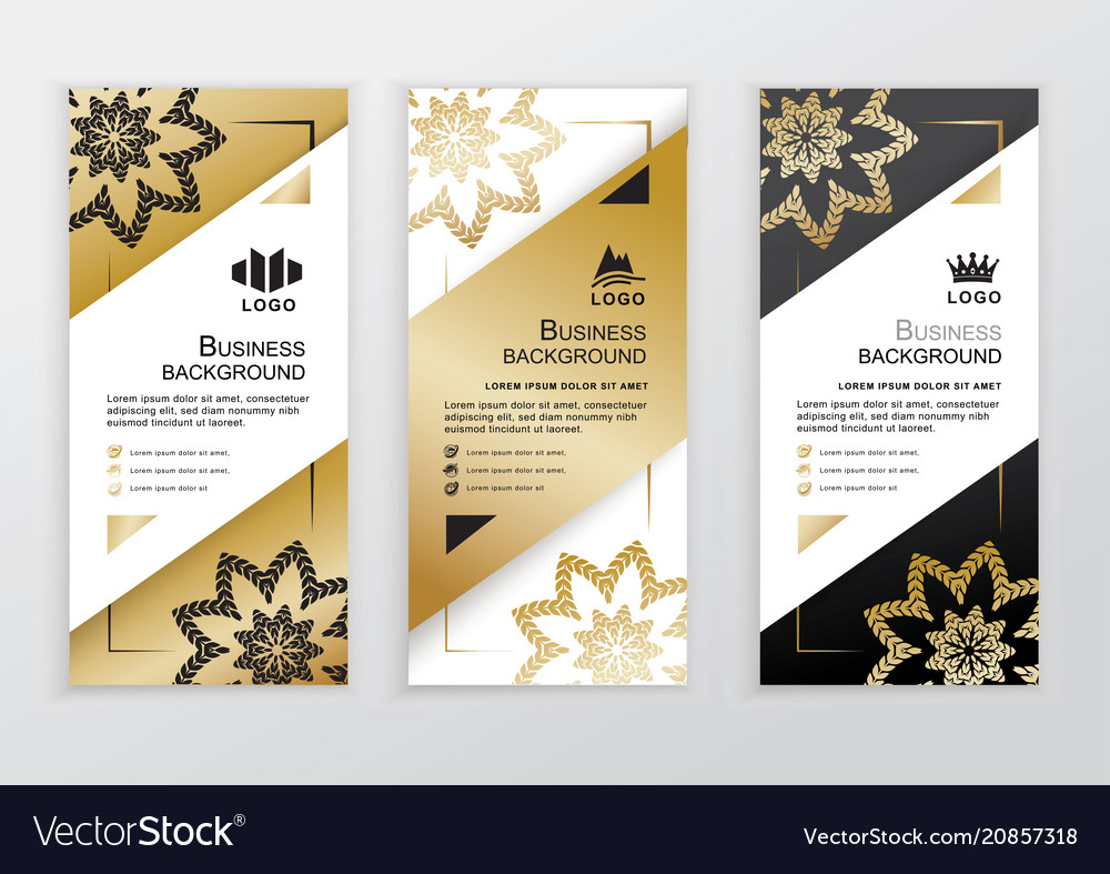 Vertical Business Gold Black White Banners Vector Image