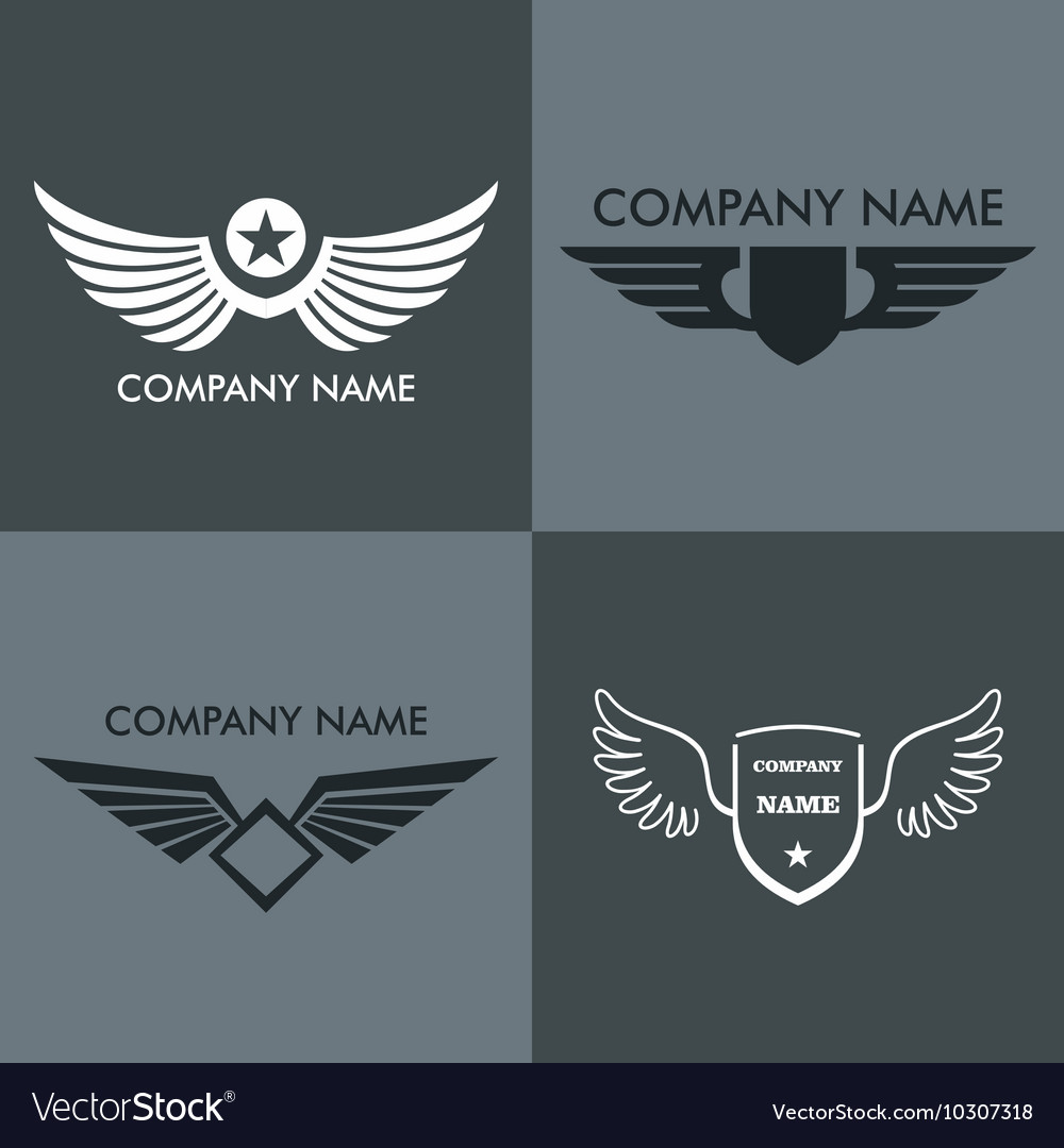 Wings logo for company on gray background vector image