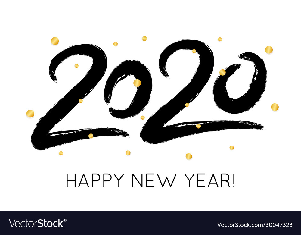 2020 happy new year with gold glitter confetti
