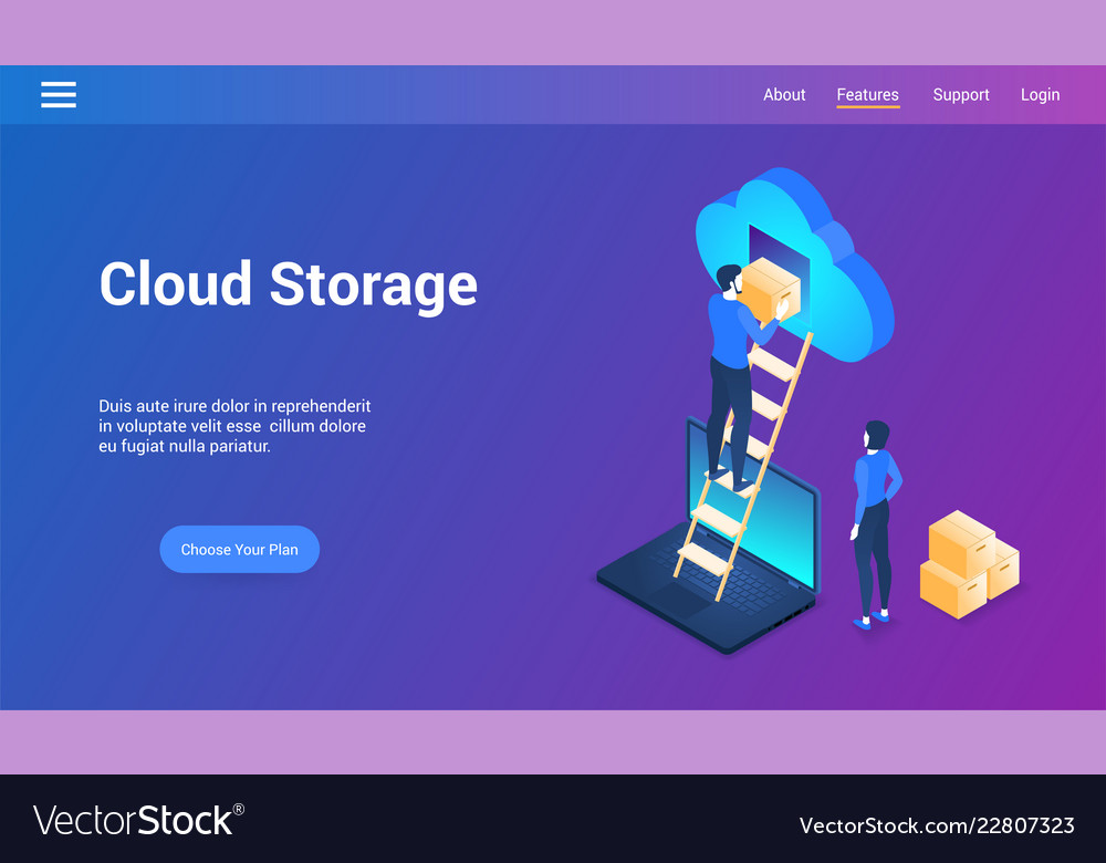 Cloud storage isometric design concept