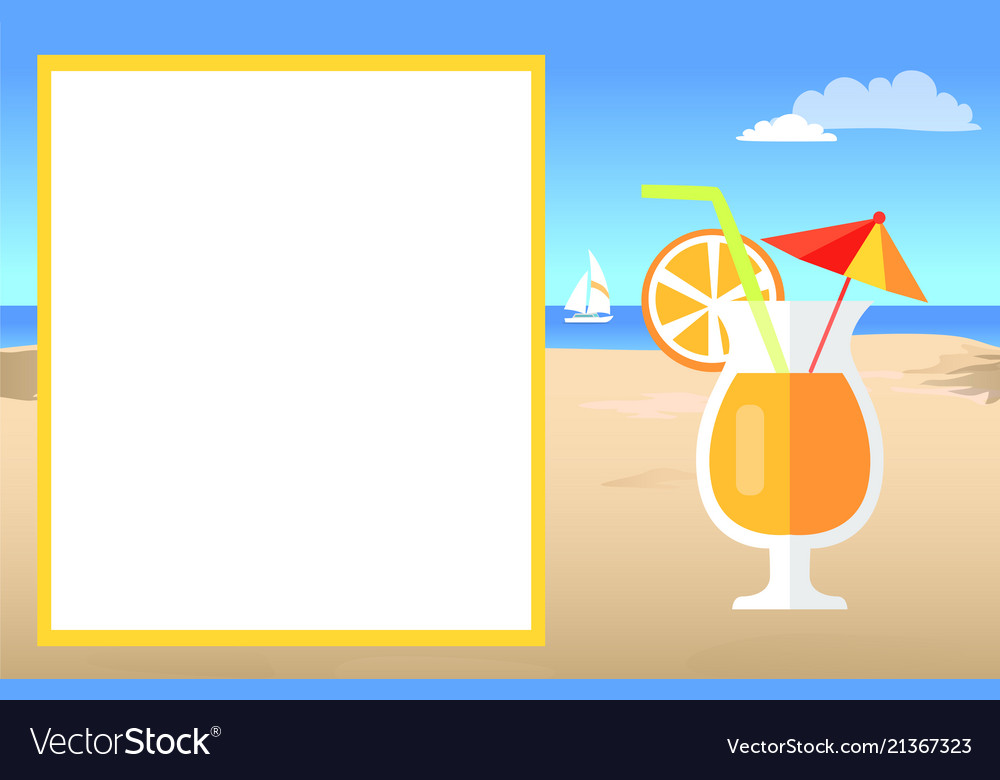 Cocktail on beach near empty white poster for text