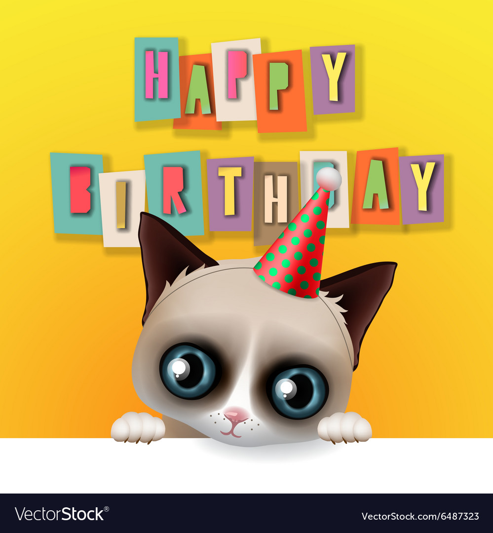 Cute Happy Birthday Card With Fun Grumpy Cat Vector Image