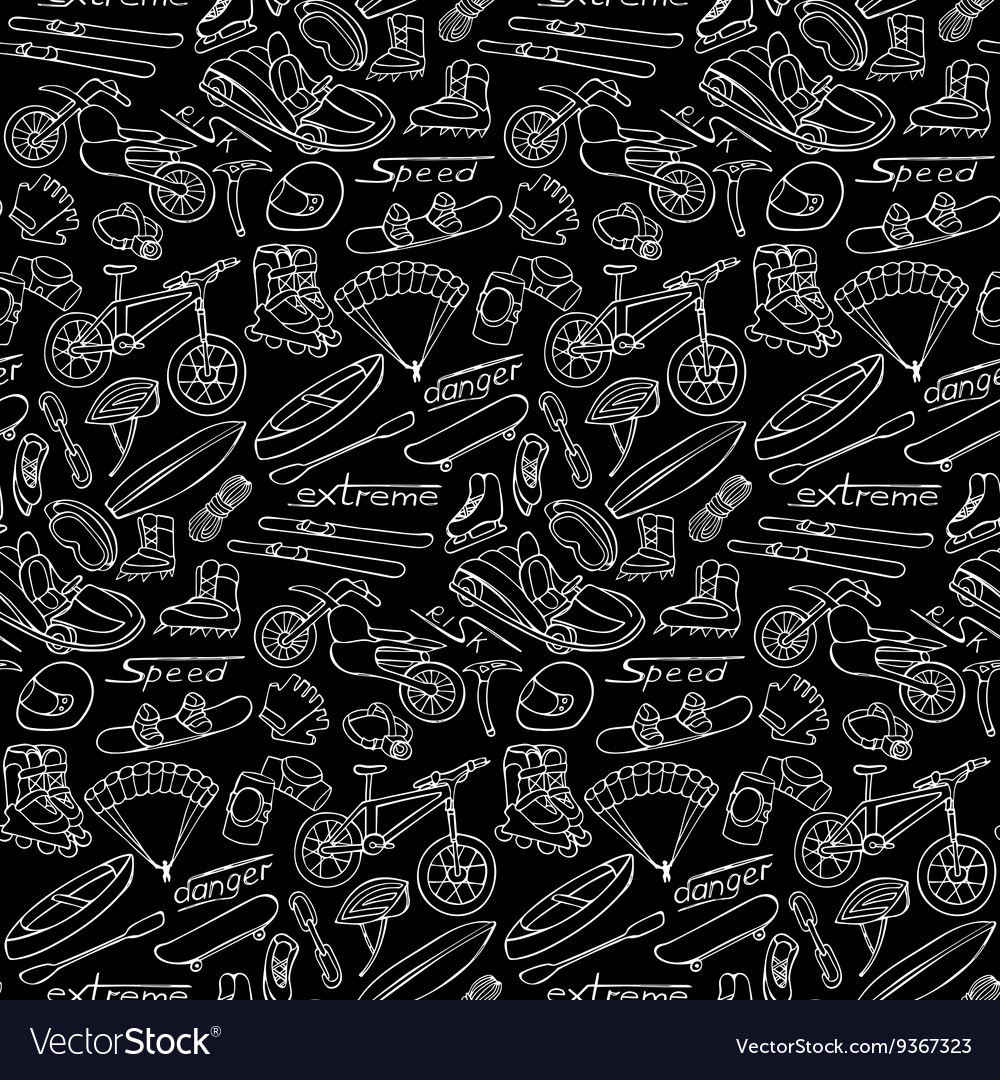 Extreme doodle seamless pattern