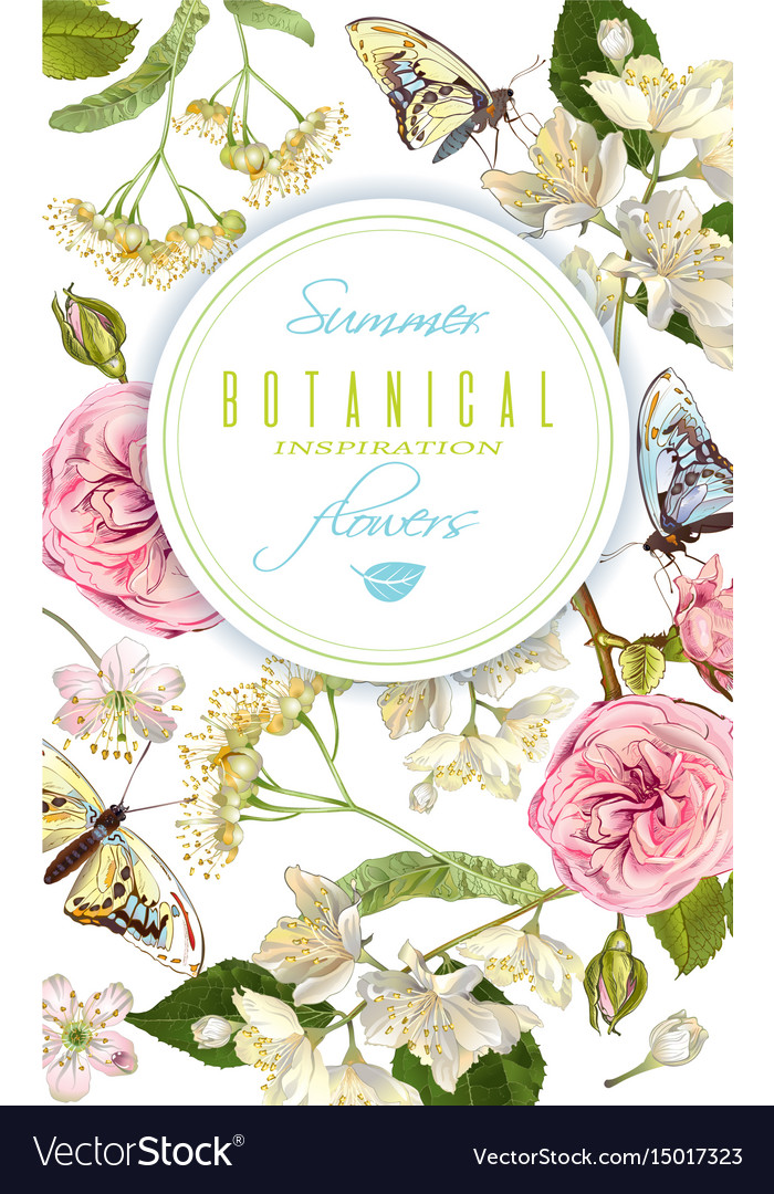 Flower butterfly banner vector image
