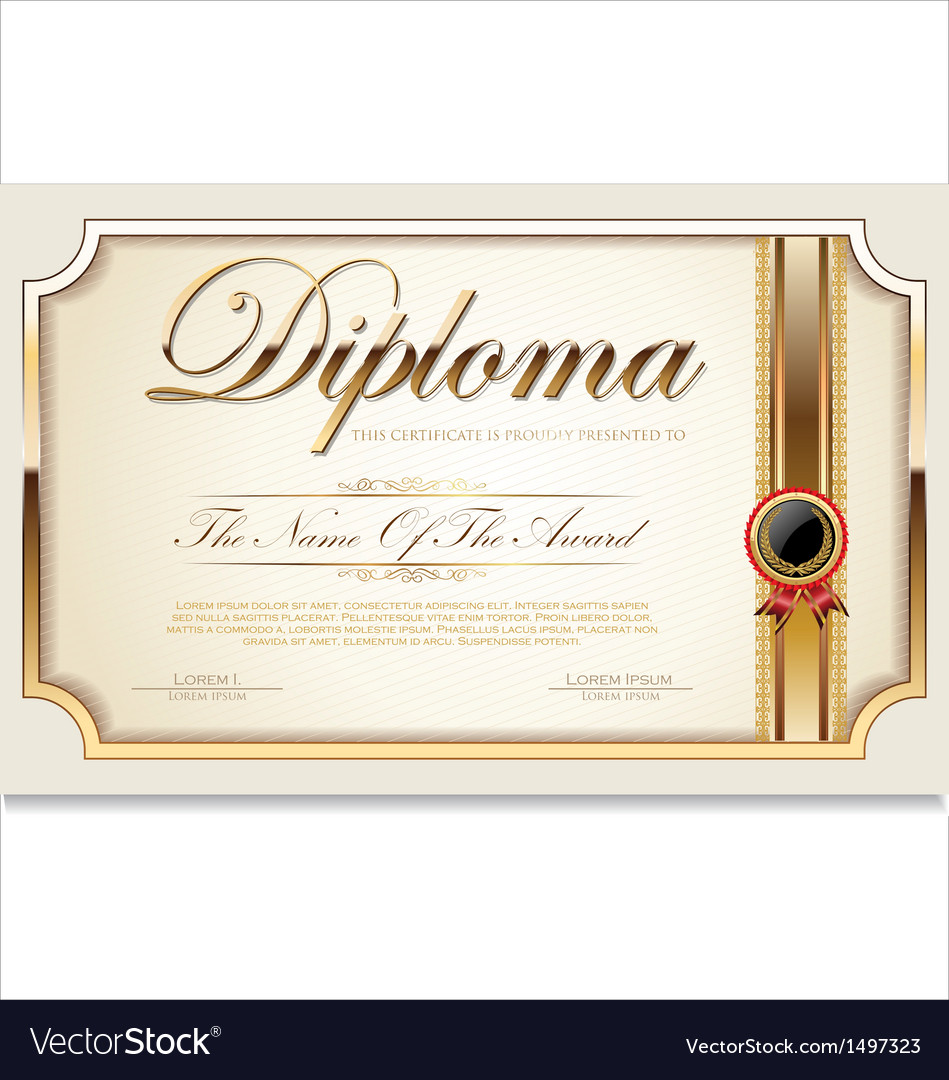 Golden Certificate Template Royalty Free Vector Image