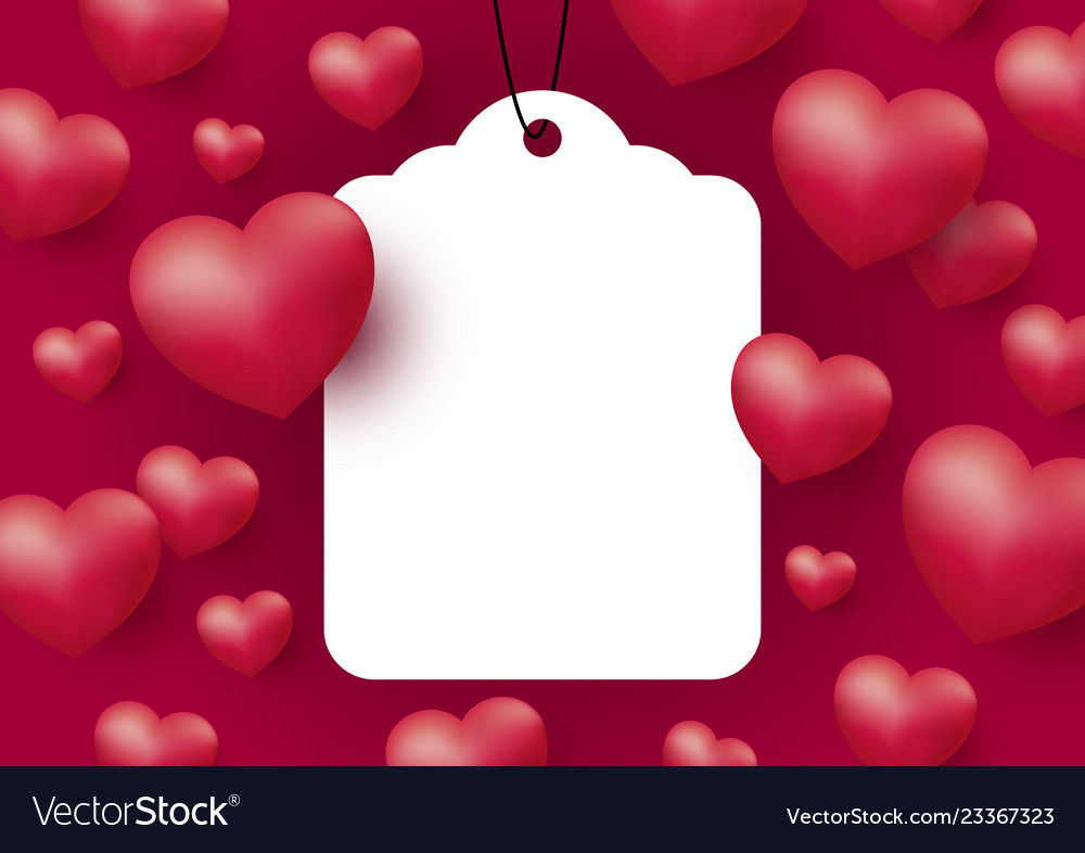 Hearts with blank white tag on red background