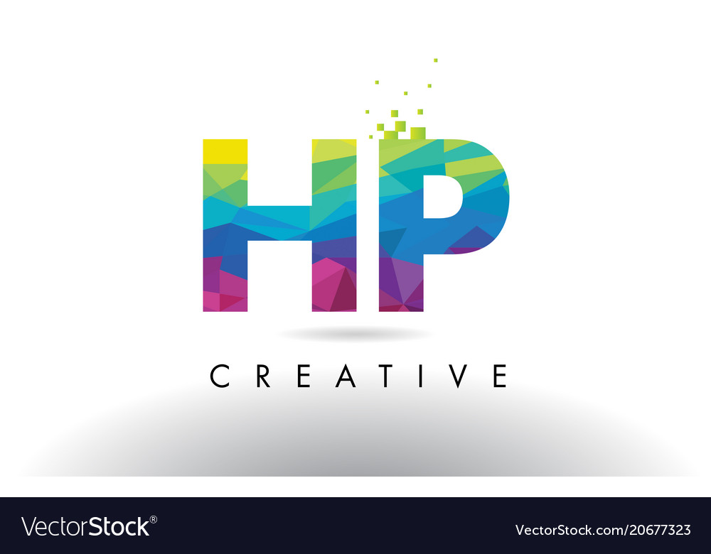 Hp H P Colorful Letter Origami Triangles Design Vector Image