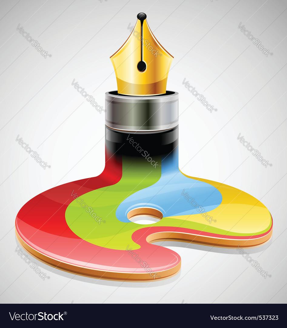 Ink pen as symbol of visual vector image