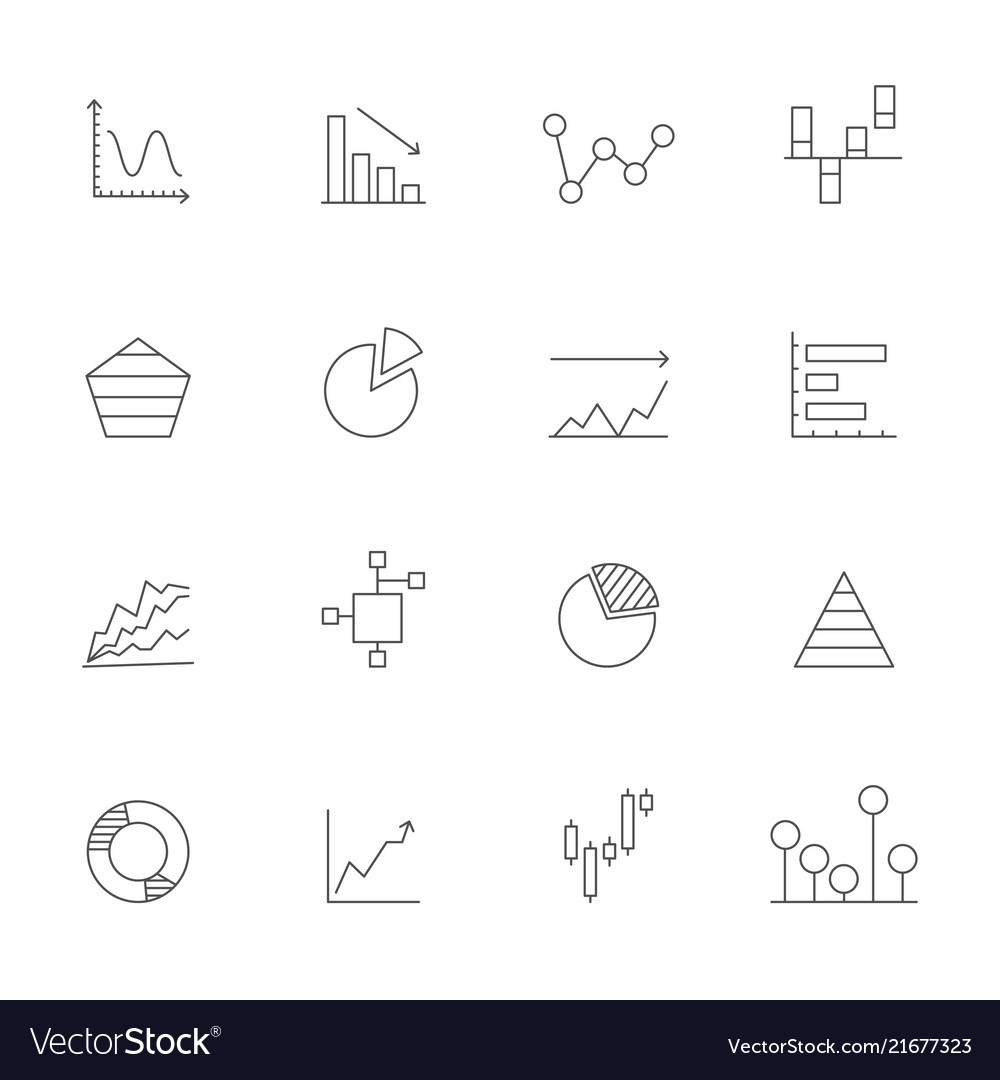 Linear icons of charts business icons set isolate