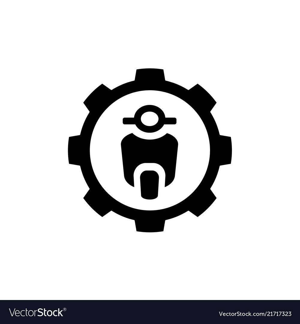 Motorcycle combined with gear symbol logo