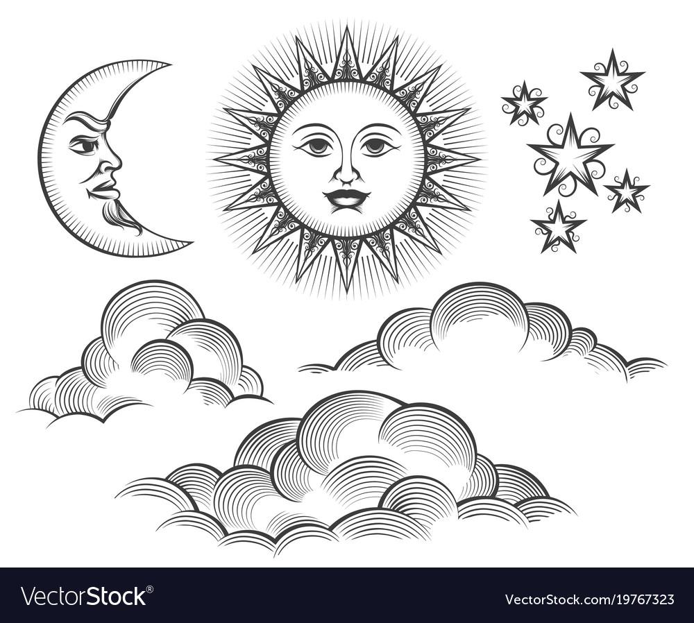 Retro engraved moon sun celestial faces