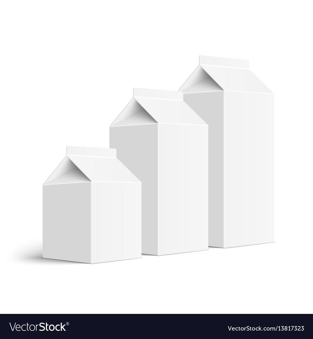 Set of juice and milk blank white carton boxes
