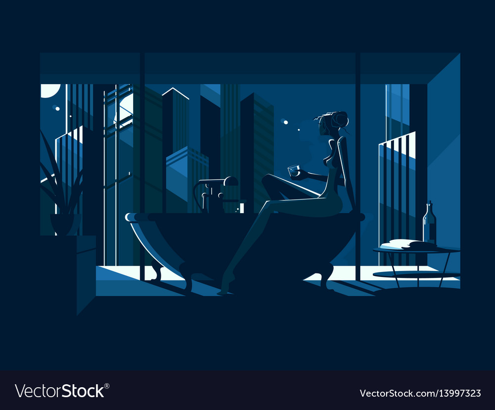 Silhouette of beautiful naked girl in bath vector image