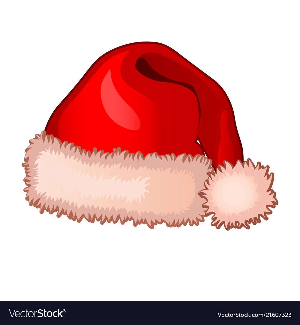 Single cap of santa claus with fluffy pompom