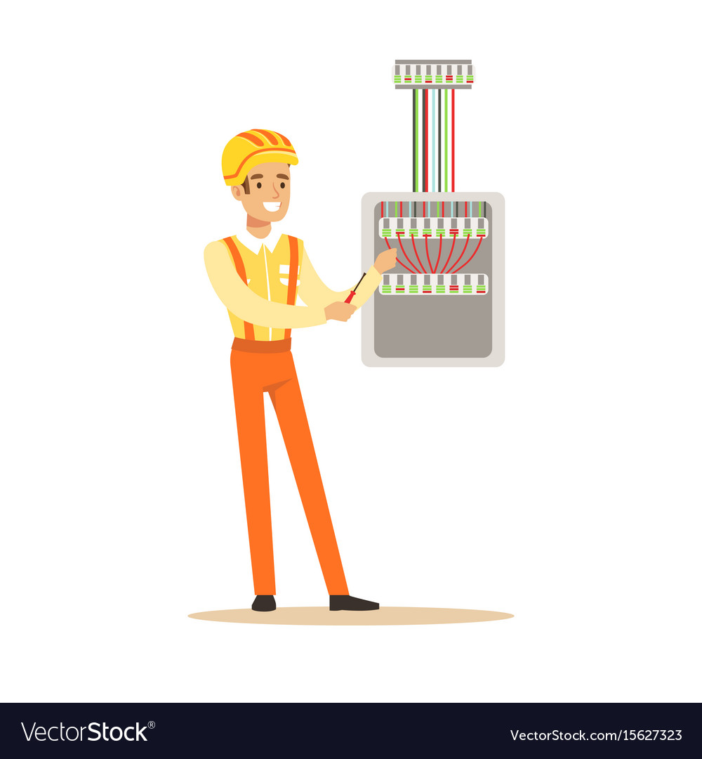 smiling electrician screwing equipment in fuse box vector image