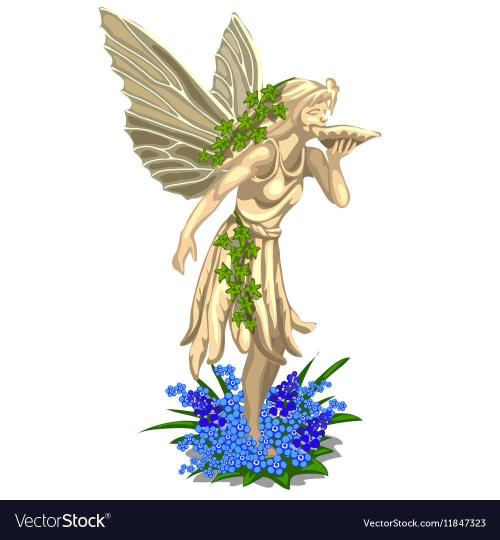 Statue fairies with wings on a white background