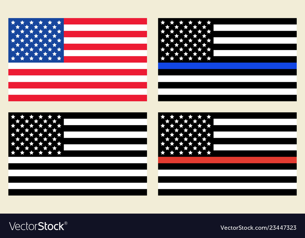 Us flags set