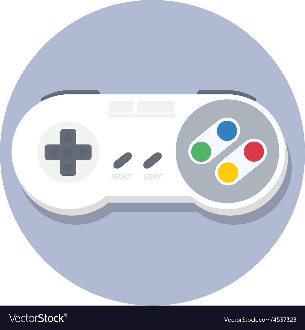Vintage Super Nintendo Snes Gamepad Flat Icon Vector Image